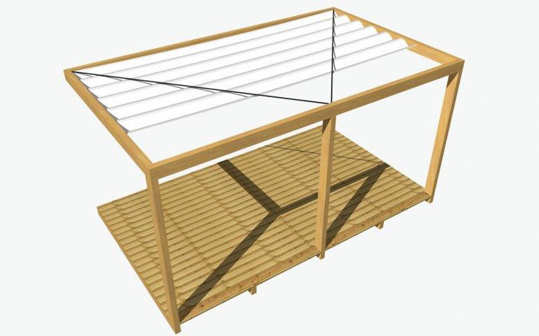 Dřevěná pergola bez vnitřních příček