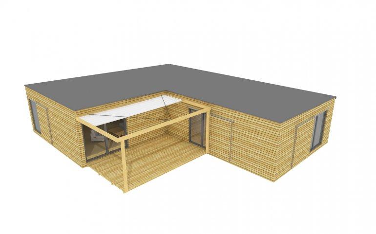 Modulová dřevostavba 15x12 m