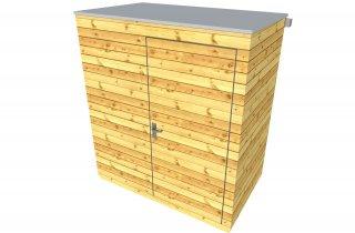 Dřevěný domeček s plochou střechou