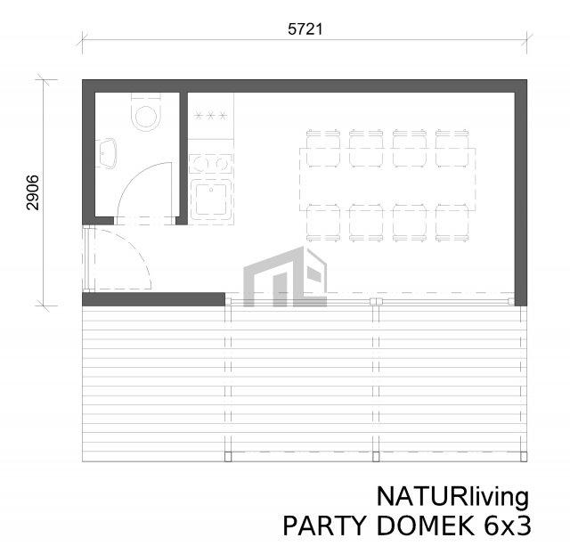 Párty domek 6x3 m - půdorys