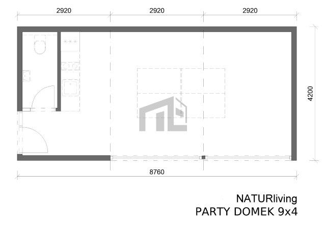 Půdorys párty domku 9x4