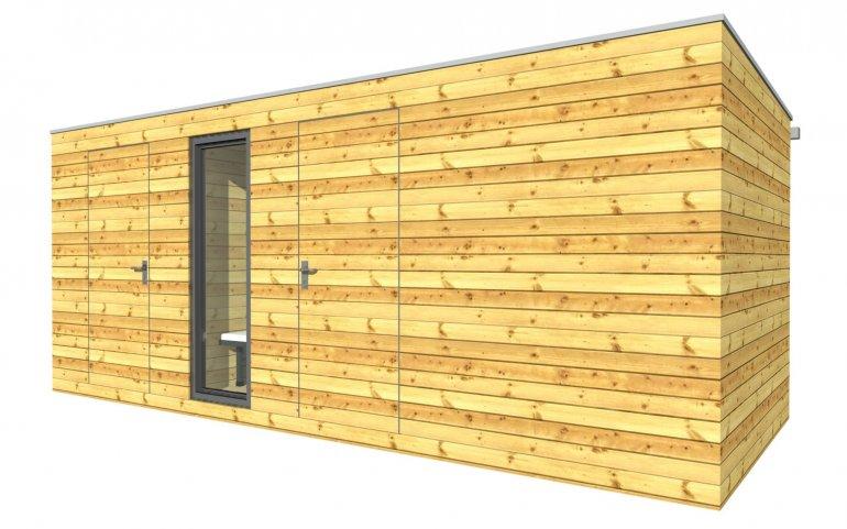 Venkovní dřevěná sauna 4x2,5 m + sklad 2x2,5 m