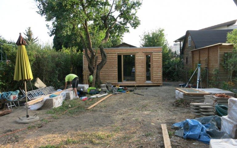 Modulový dům před dokončením