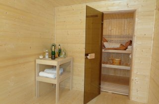 Pohled z odpočívárny do sauny