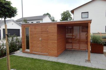 Moderní zahradní domek S9 s přístřeškem a zástěnou - Möhrendorf