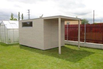 Zahradní domek na nářadí S9 - 4 x 2,5 m s přesahem střechy - Ořech