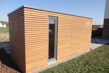 Dřevěný domek na nářadí s přístřeškem na dřevo S7 - Jesenice