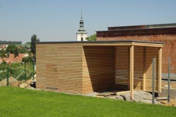 Dřevěný domek na nářadí S9 s přístřeškem na dřevo - Vyškov